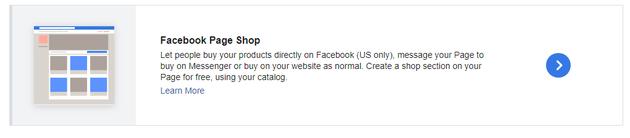 Figuur 6 - Facebook Page Shop maken