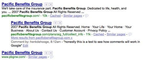 Google Comments (Searchwiki)