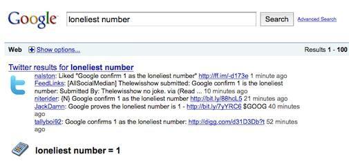 Google loneliest number = 1
