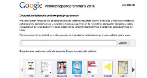 Google maakt partijprogramma's doorzoekbaar