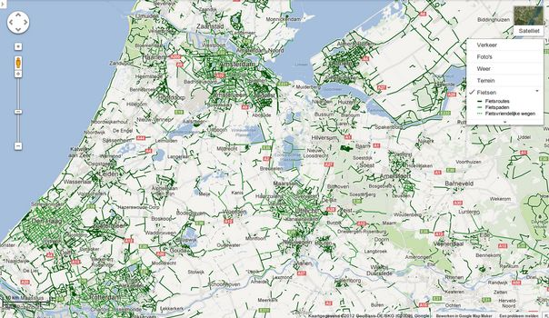 Google Maps fietsroutes nu ook in Nederland