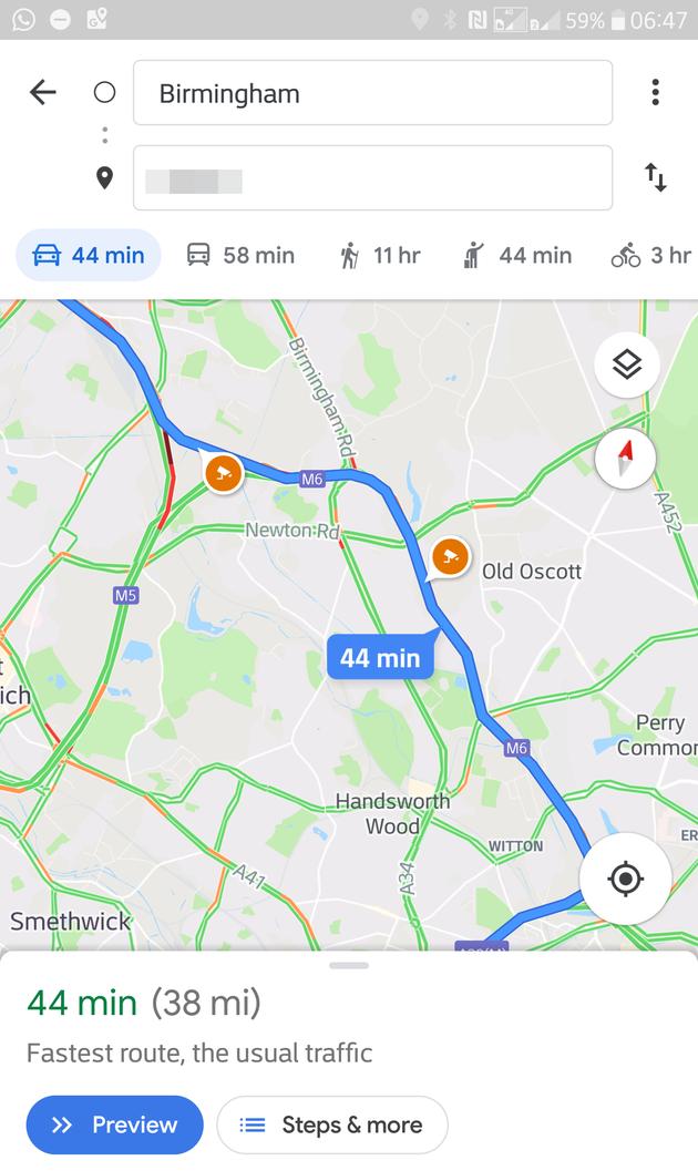 Google Maps flitsers