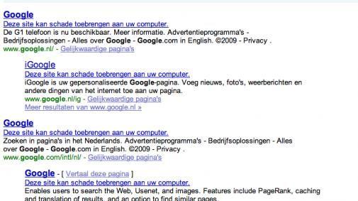 Google markeert hele internet als spam