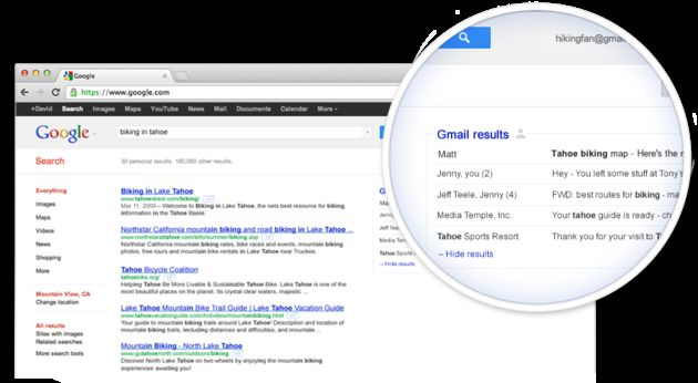 Google Search toont Gmail resultaten
