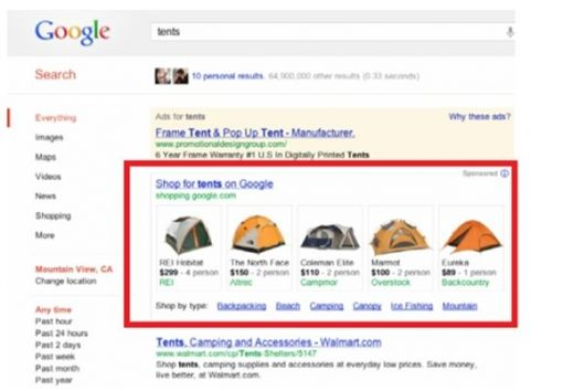 google shopping tents