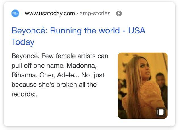 Google Web Stories Beyonce