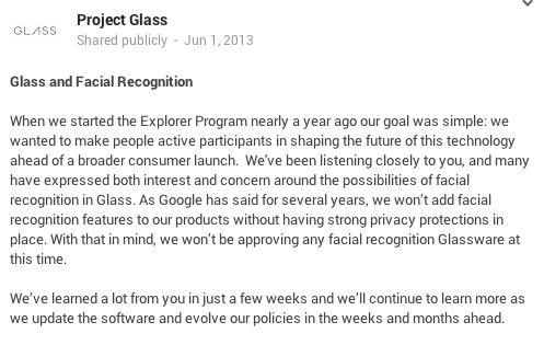 Google wil voorlopig geen gezichtsherkenning in Apps voor Glass