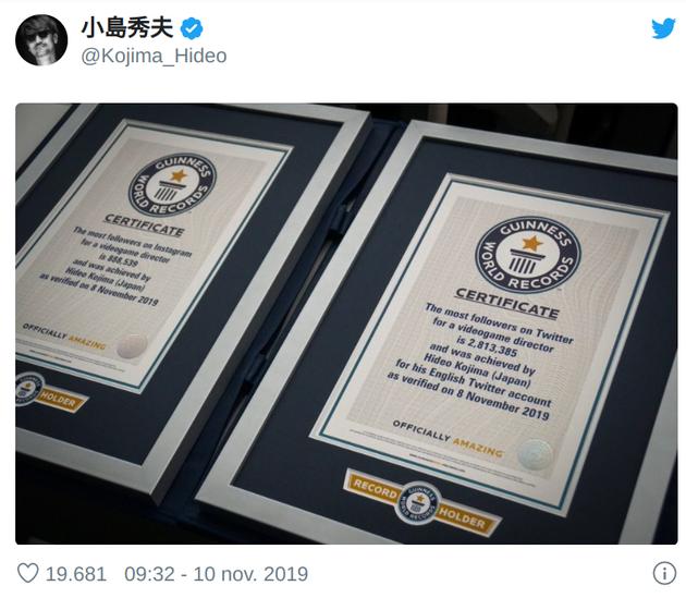 Death Stranding-maker Hideo Kojima breekt twee social media-records