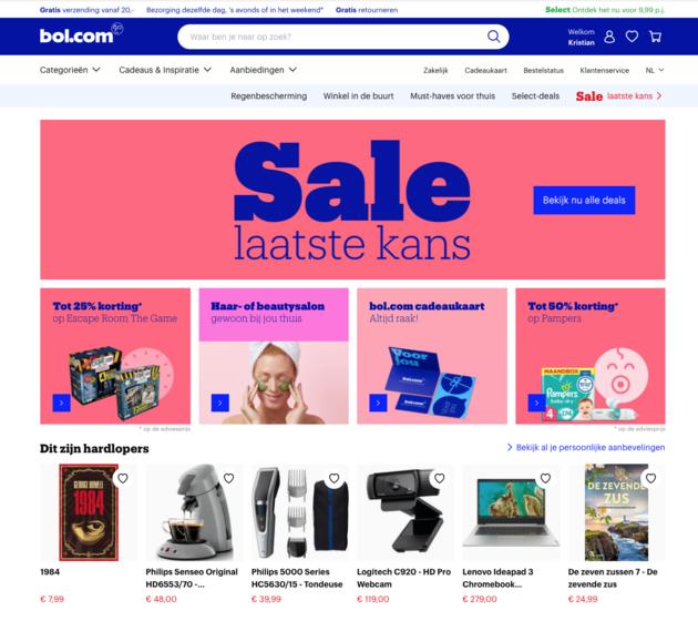 Homepage Bol.com persoonlijk design