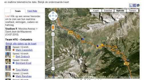 HTC-Columbia team live online volgen via Google Maps