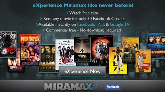 Huur Miramax films via Facebook