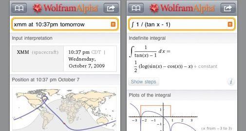 iPhone App van Wolfram Alpha