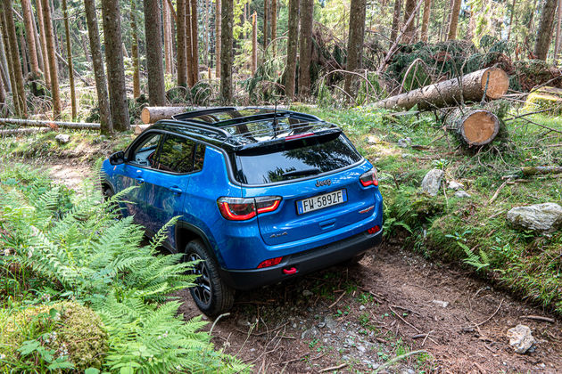 Jeep Compass Trail Hawk in the woods