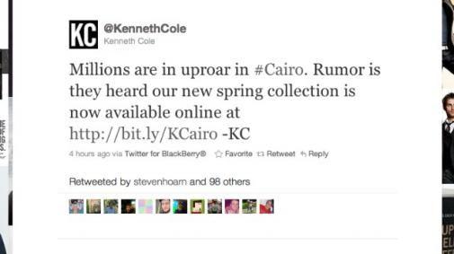 Kenneth Cole biedt excuses aan wegens tweet over Egypte