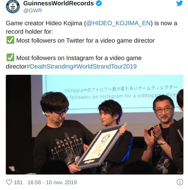 Hideo Kojima neemt Guinness World Records in ontvangst
