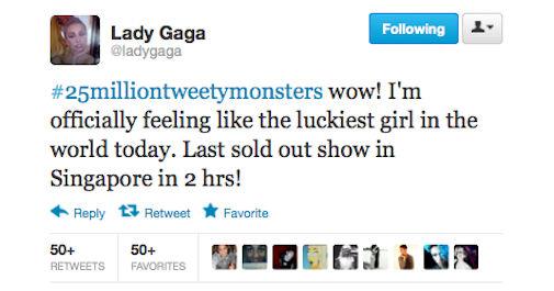 Lady Gaga : 25 miljoen volgers op Twitter