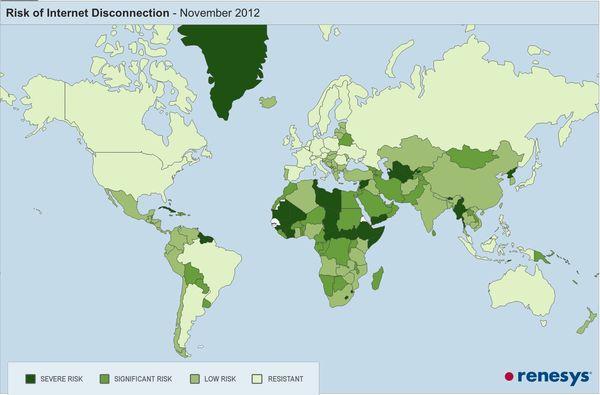 Landen met het hoogste risico op een 'internet blackout'