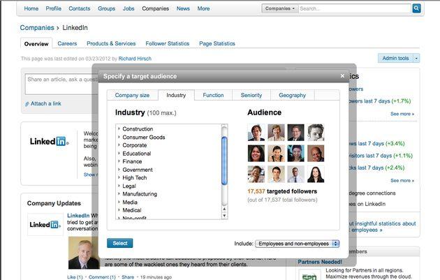 LinkedIn 'Targeted Updates' en 'Follower Statistics'-tab