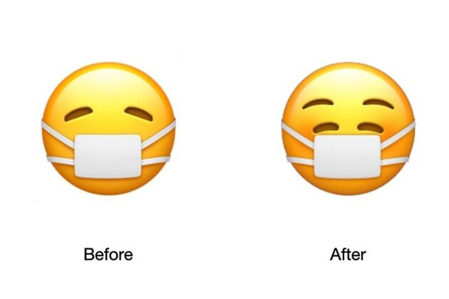 Emoticon met mondmasker lacht