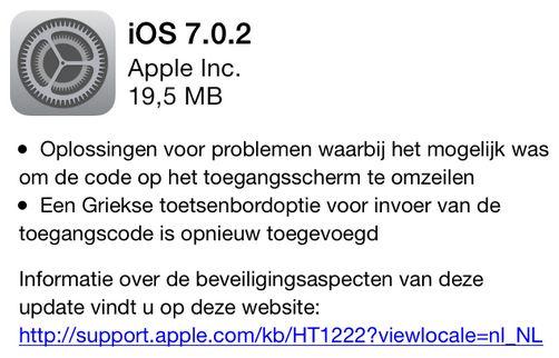 Met iOS 7.0.2 is het niet langer mogelijk de code op het toegangsscherm te omzeilen