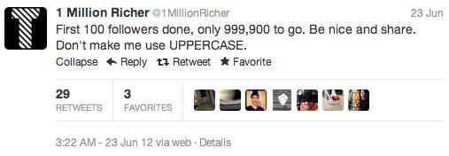 Met Twitterich de kans om 1 miljoen twitter volgers te winnen