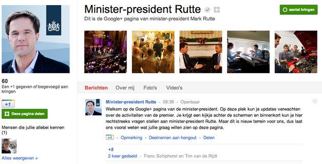 Minister-president Mark Rutte goes Google+