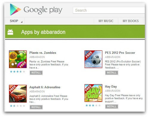 Nep versie 'Plants vs Zombies' en andere Android games infiltreren de Google Play store