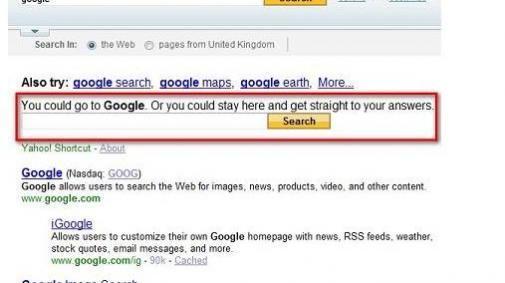 Niet naar Google via Yahoo