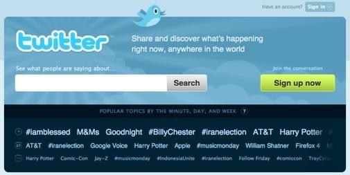 Nieuwe homepage voor Twitter met directe live search