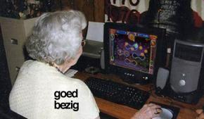 Oma niet achter de geraniums, maar Pegglen