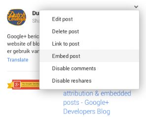 Ook Google+ gaat het insluiten van berichten mogelijk maken