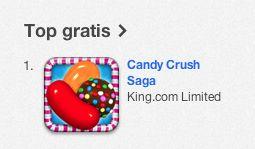 Ook op de iPad is Candy Crush Saga de populairste gratis app