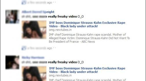 Op facebook worden freaky video's over Dominique Strauss-Kahn aangeboden