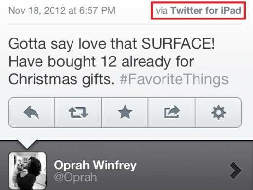 Oprah tweet haar liefde voor Microsoft's Surface vanaf haar iPad