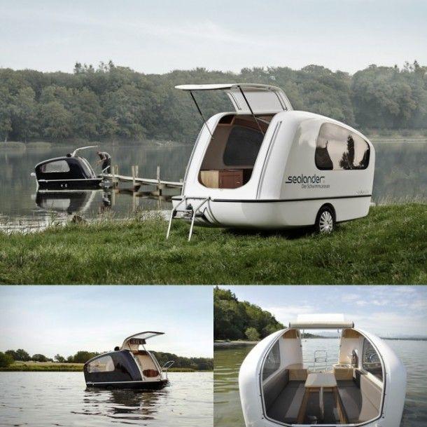 De sealander een caravan die ook als boot gebruikt kan worden Sealander caravan