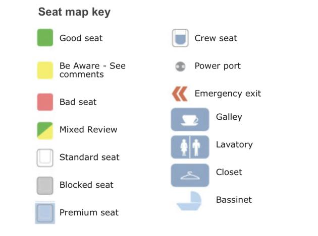 SeatGuru stoel vliegtuig