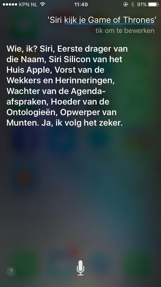 Siri kijkt Game of Thrones
