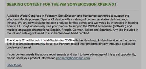 Sony Ericsson X1 medio September in de winkels