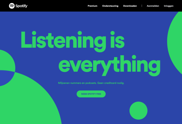 Spotify-homepage-duidelijke-call-to-action