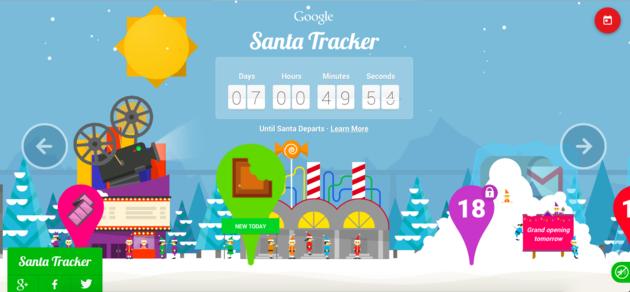 Startscherm Santa tracker
