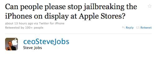 "Steve Jobs: ""Can People stop jailbreaking iPhones at Apple Stores"""