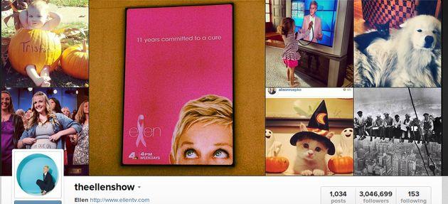 """The Ellen Show populairste """"merk"""" op Instagram"""