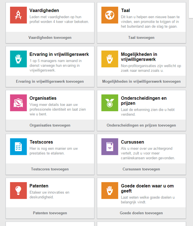 Toevoegen secties aan je LinkedIn-profiel stap 2