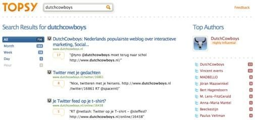 Topsy - Search according to Twitter