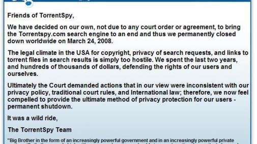 Torrentspy.com is gestopt: 'It was a wild ride'