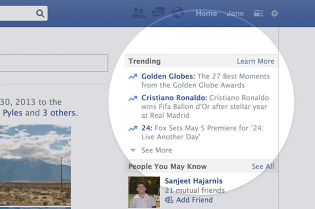 trending op Facebook