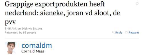 Twitter houdt de gemoederen bezig, Cornald Maas gewipt