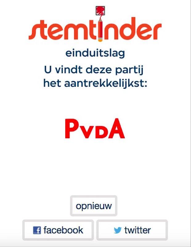 Uitslag stemtinder.nl