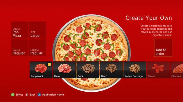 Vanaf je Xbox Pizza bestellen kan met de Pizza Hut app