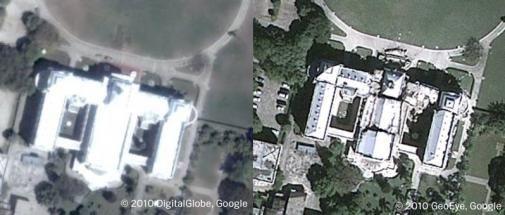 Via Google Earth zijn de verwoestingen op Haïti te zien